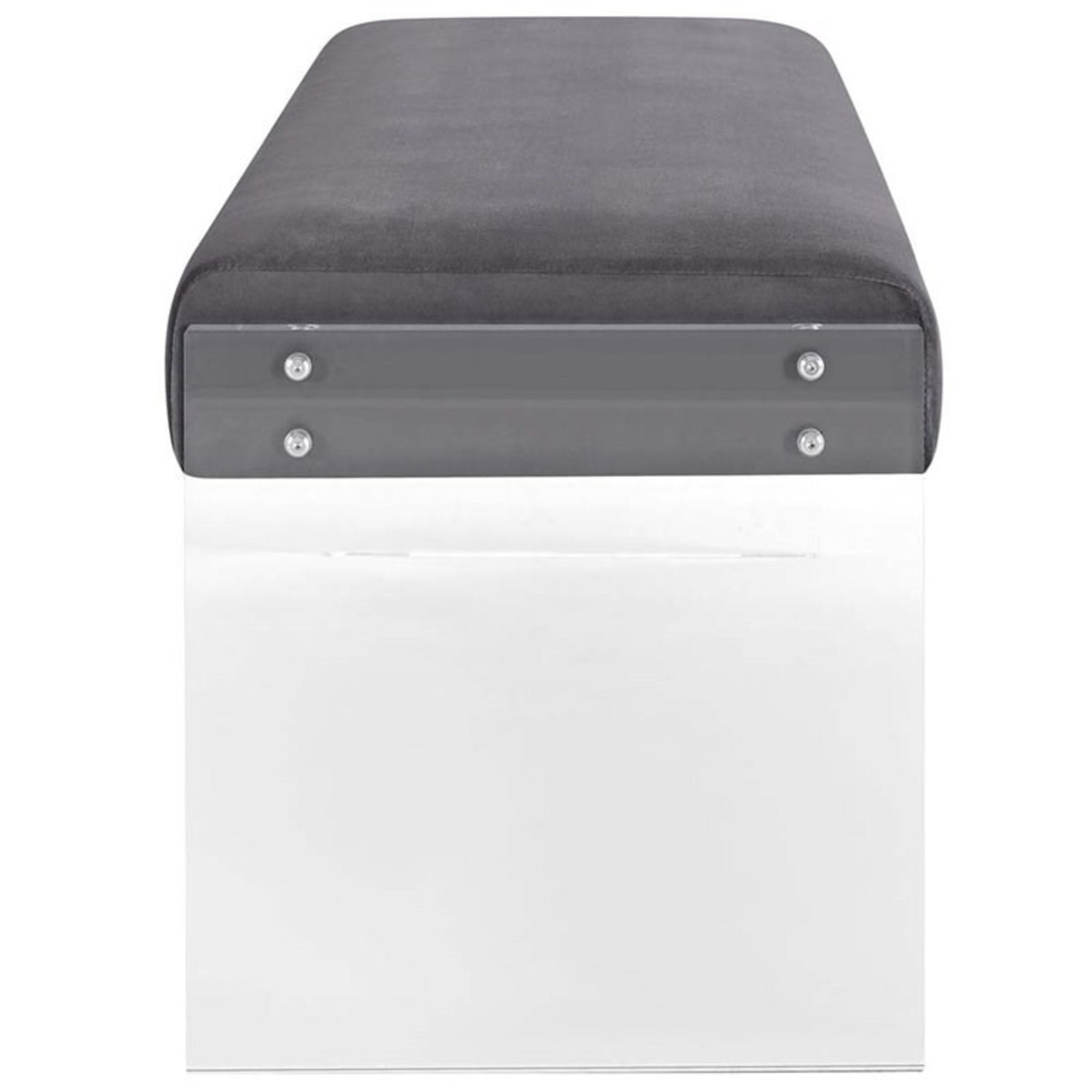 Bench In Gray Velvet Fabric & Clear Acrylic Finish - image-1