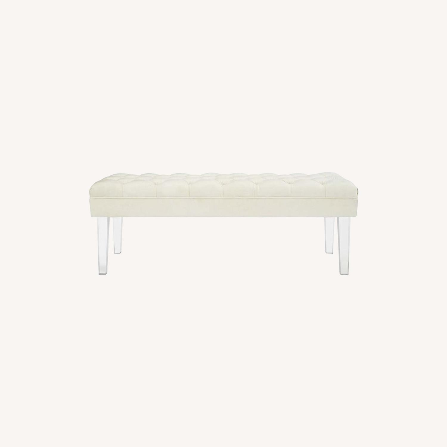 Bench In Ivory Velvet Fabric W/ Clear Acrylic Legs - image-5