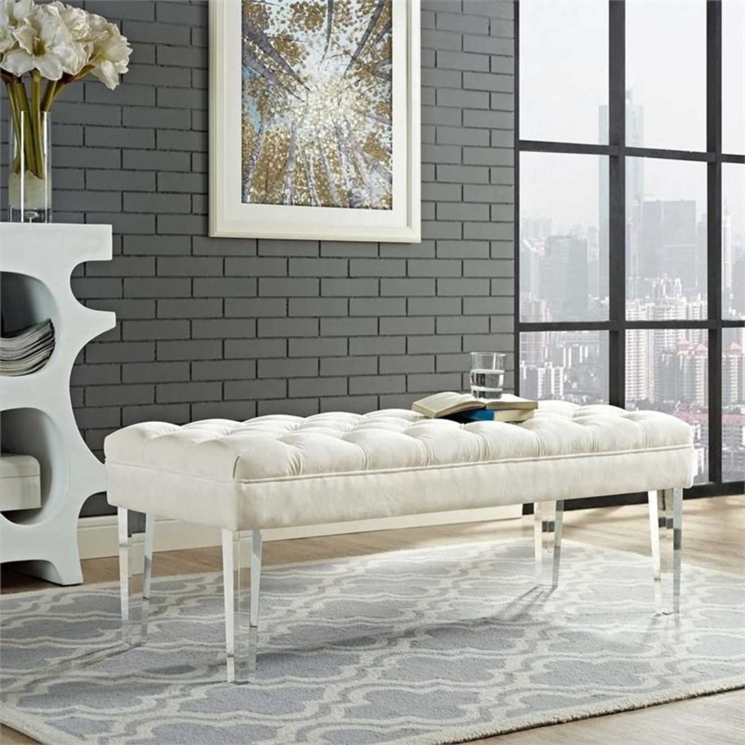 Bench In Ivory Velvet Fabric W/ Clear Acrylic Legs - image-3