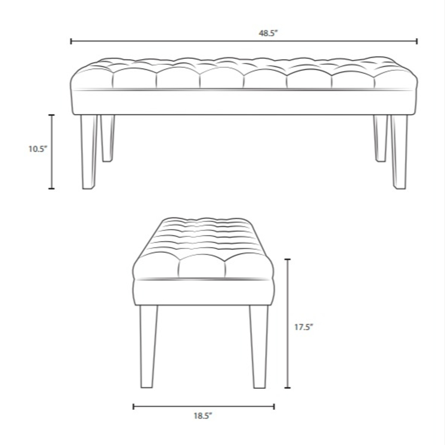 Bench In Ivory Velvet Fabric W/ Clear Acrylic Legs - image-4