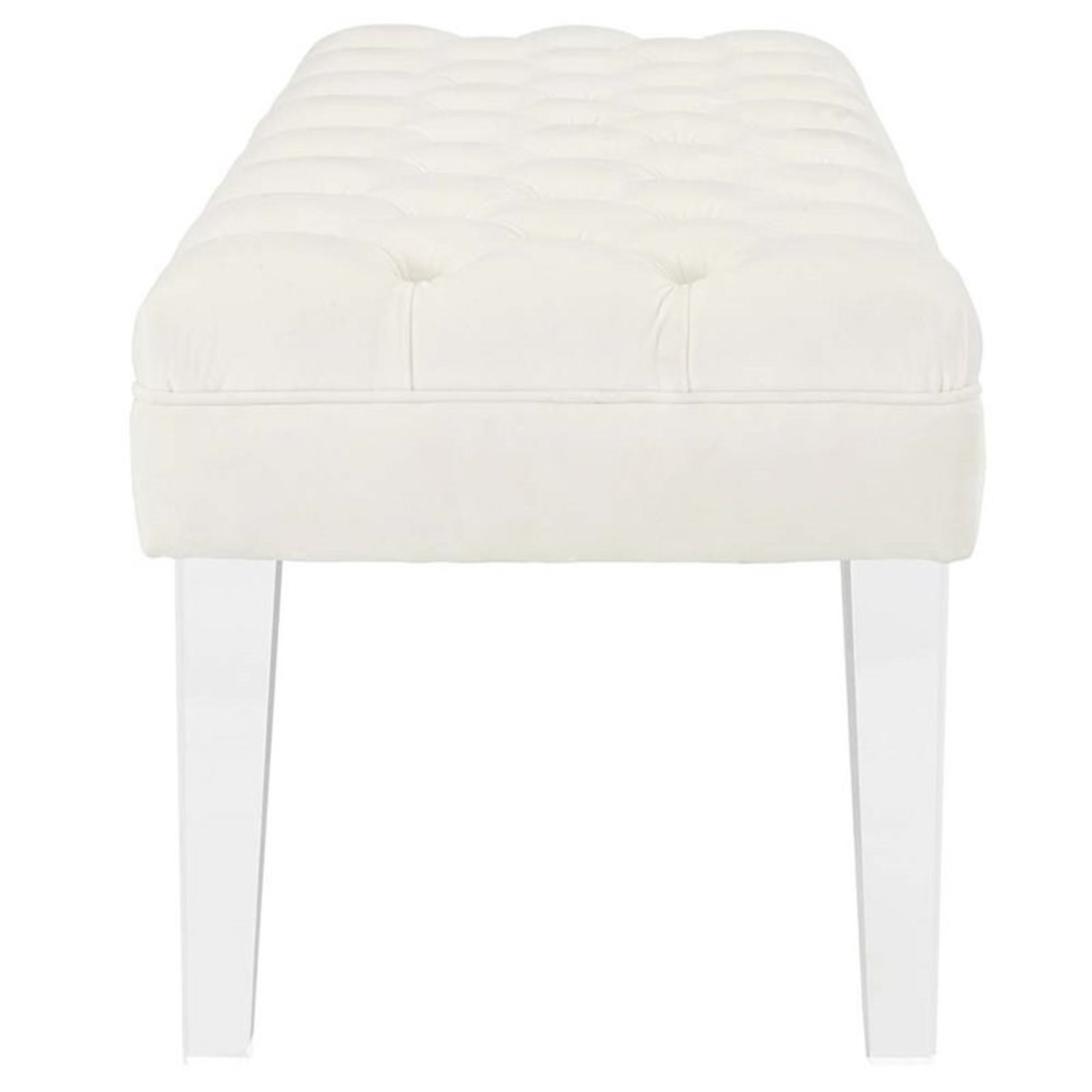 Bench In Ivory Velvet Fabric W/ Clear Acrylic Legs - image-2