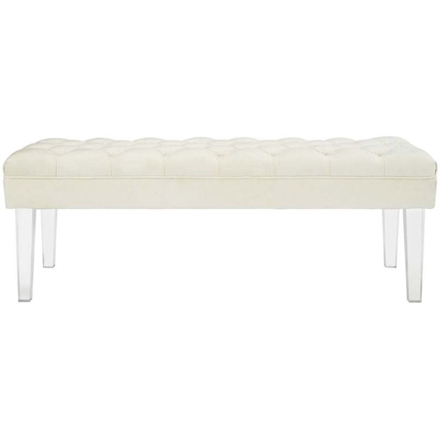 Bench In Ivory Velvet Fabric W/ Clear Acrylic Legs - image-0