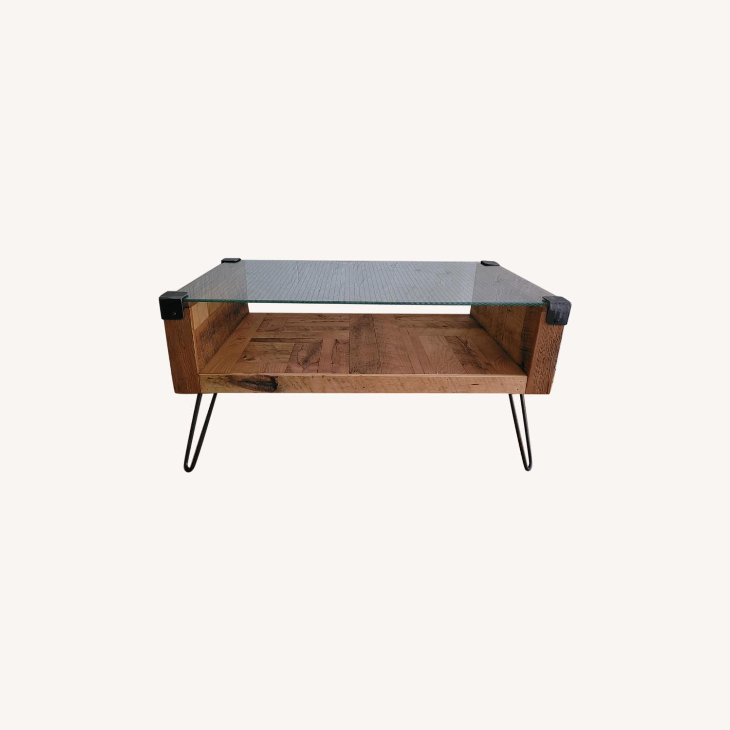 Square Wire Glass Coffee Table - image-0