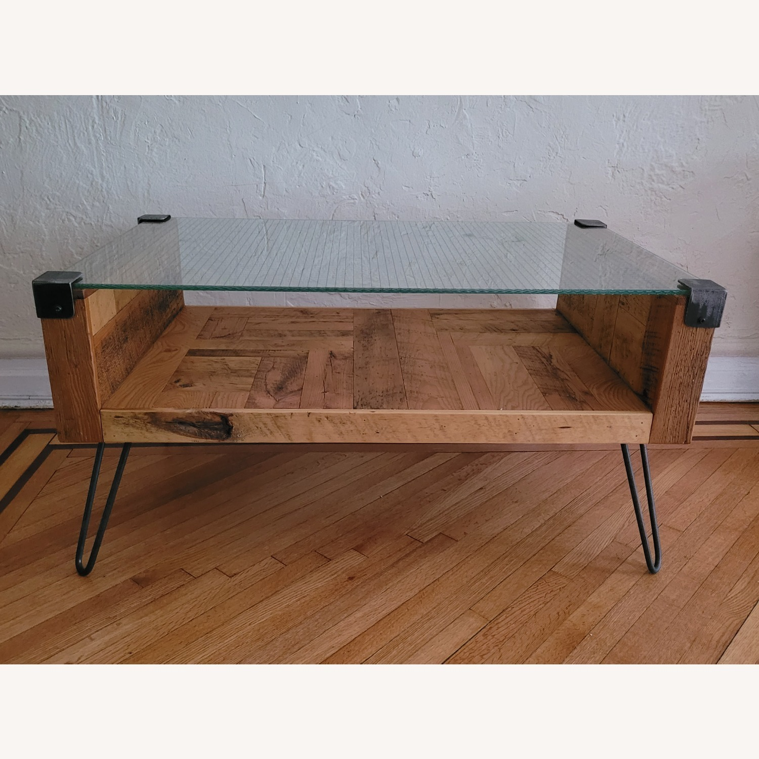 Square Wire Glass Coffee Table - image-1