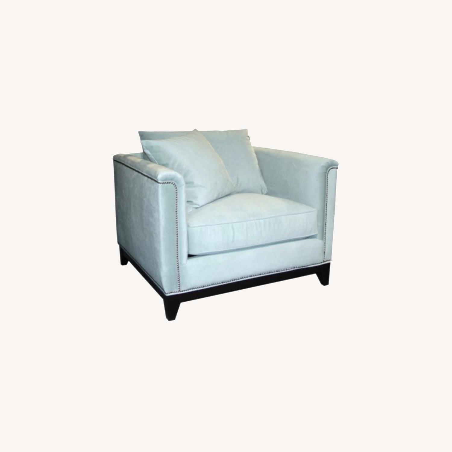 Z Gallerie Blue Pauline Chair and a Half - image-0