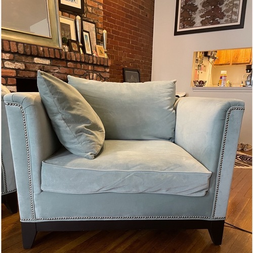 Used Z Gallerie Blue Pauline Chair and a Half for sale on AptDeco
