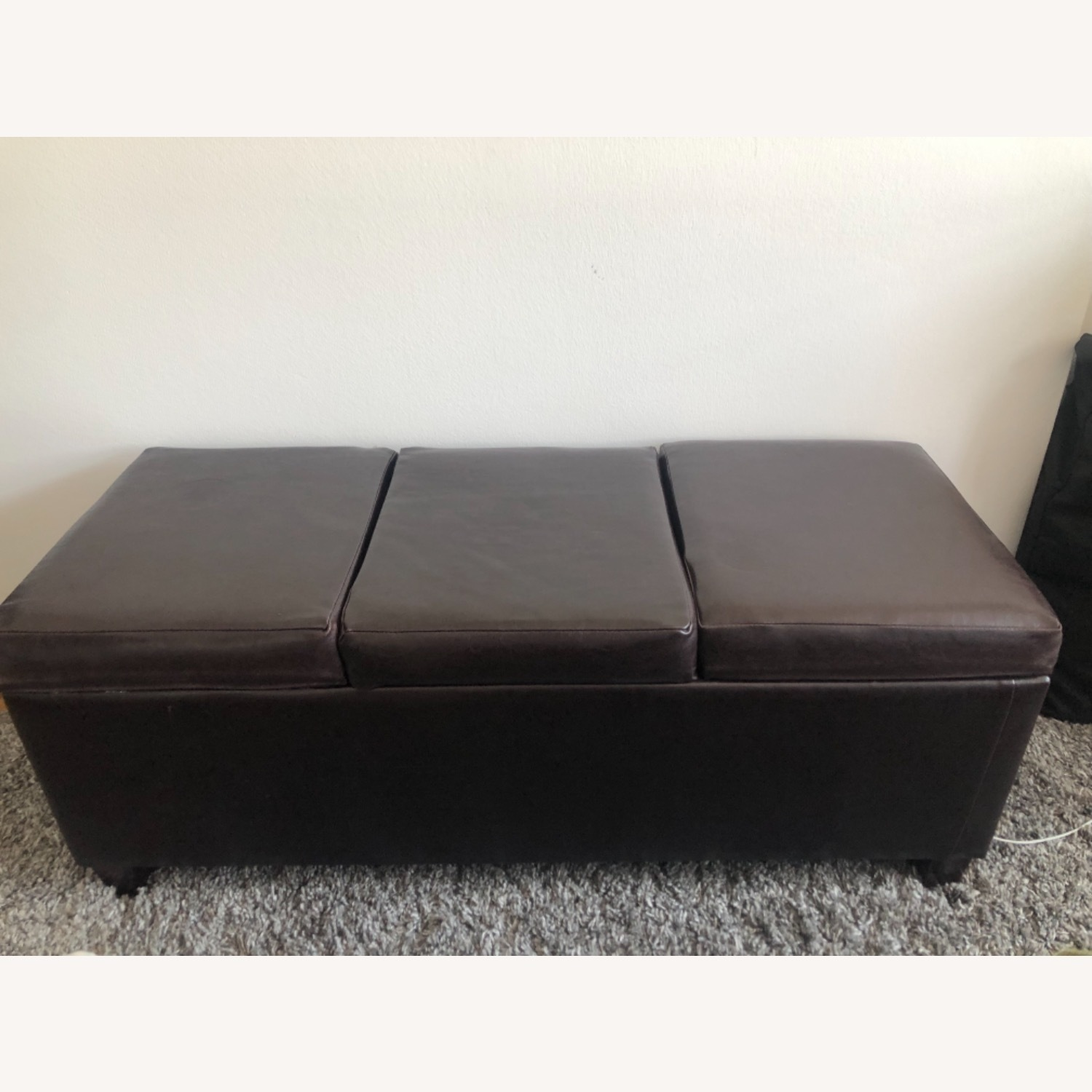 Brown Leather Coffee Table with Storage - image-1