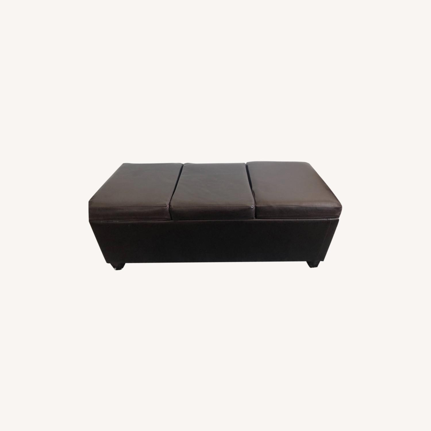 Brown Leather Coffee Table with Storage - image-0