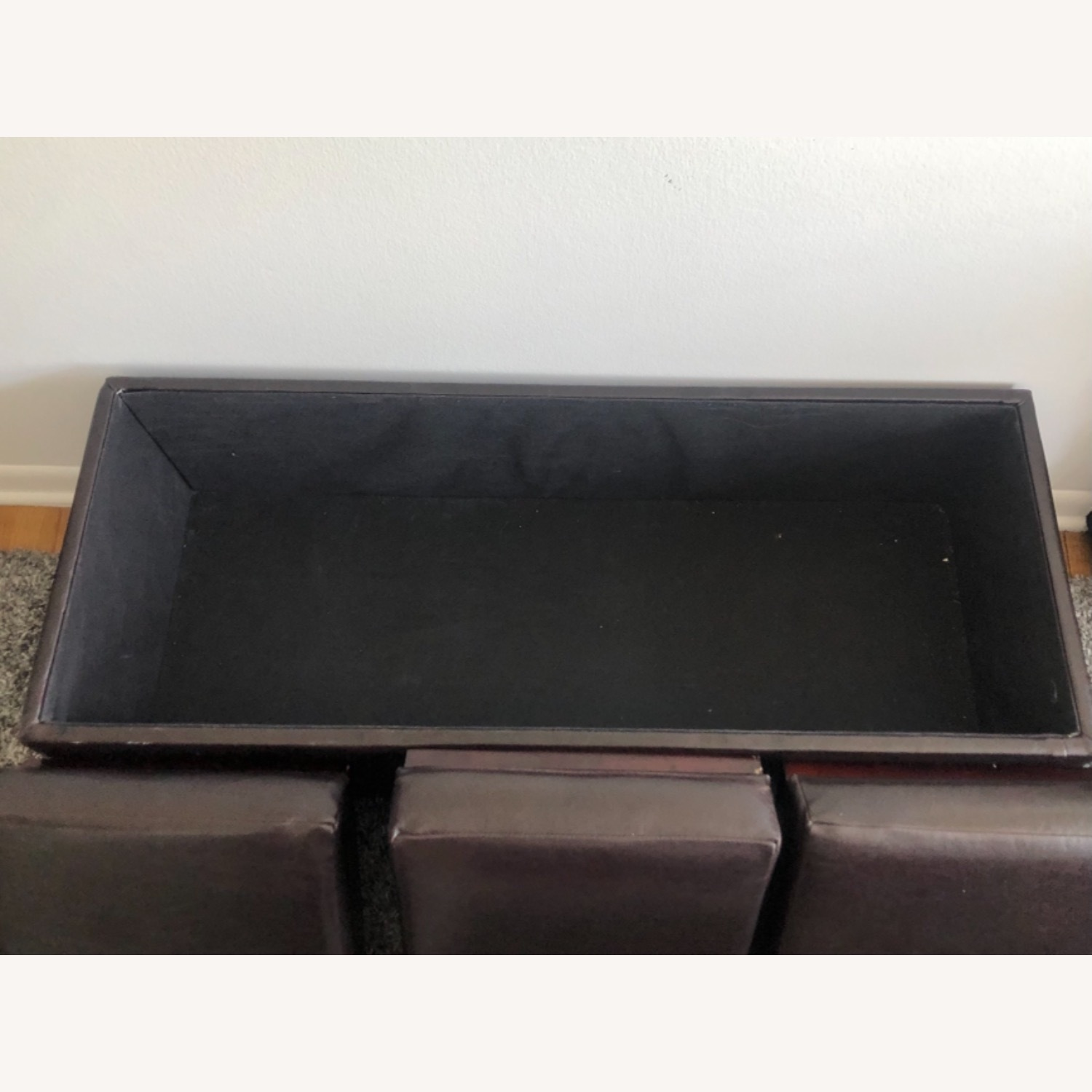 Brown Leather Coffee Table with Storage - image-3