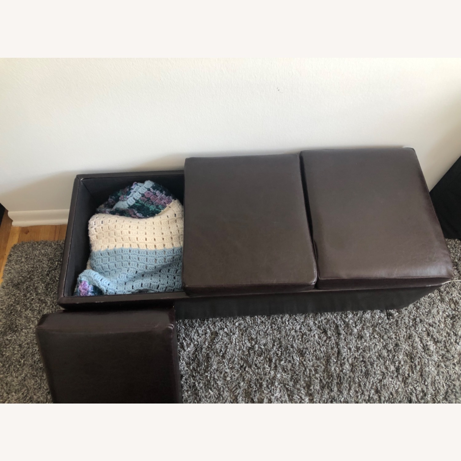 Brown Leather Coffee Table with Storage - image-4