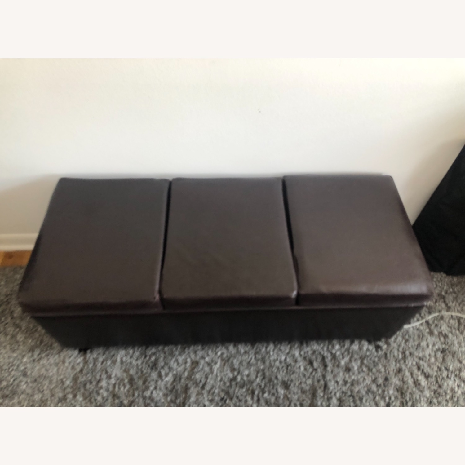 Brown Leather Coffee Table with Storage - image-2