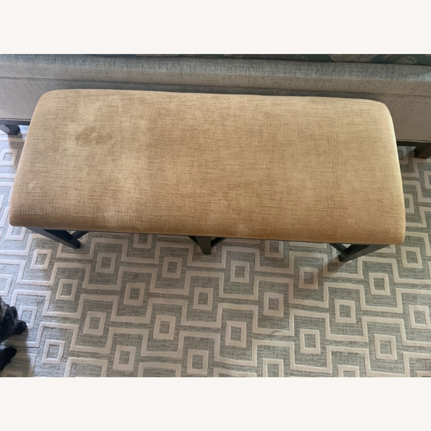 Bernhardt Wood and Chenille Bench - image-2