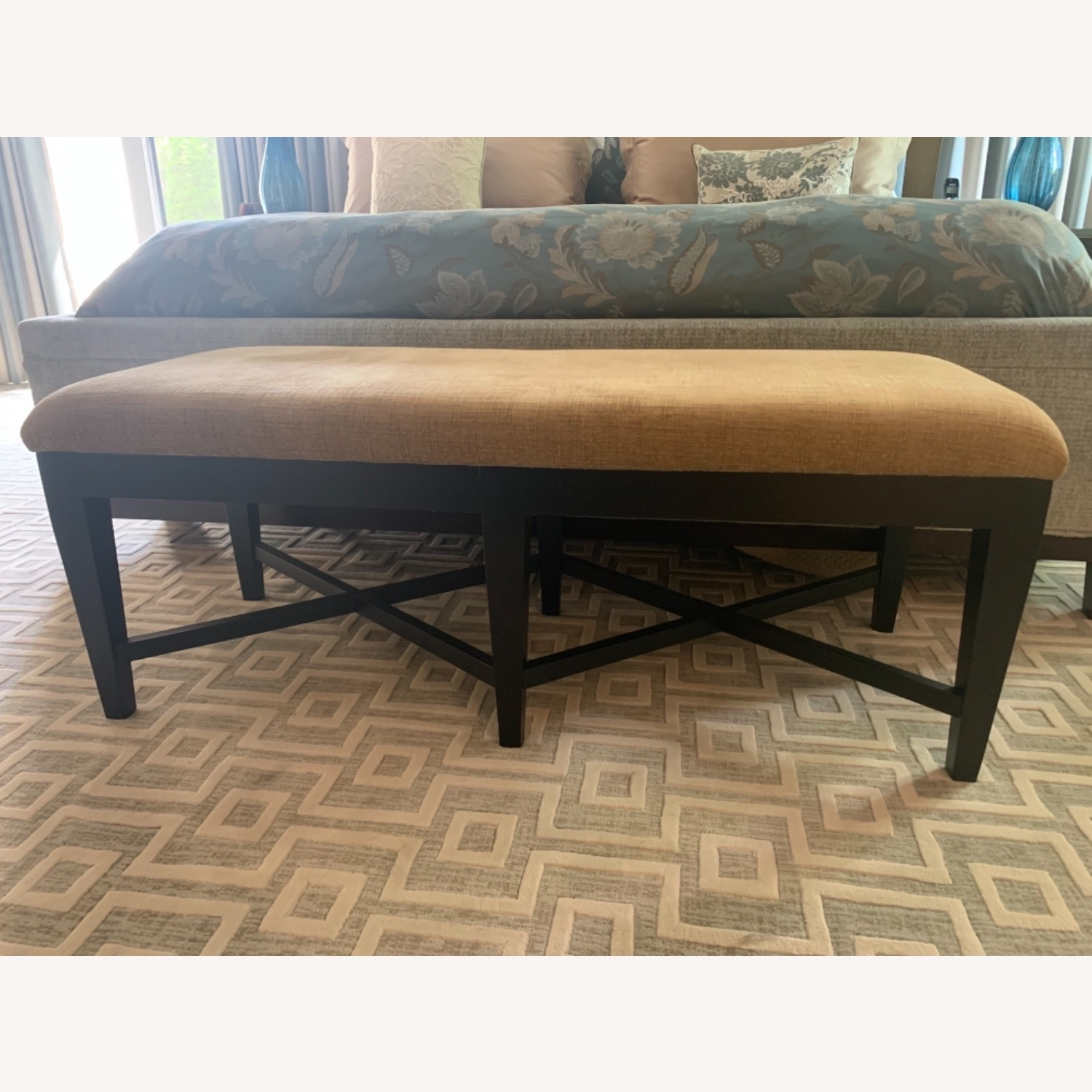 Bernhardt Wood and Chenille Bench - image-3