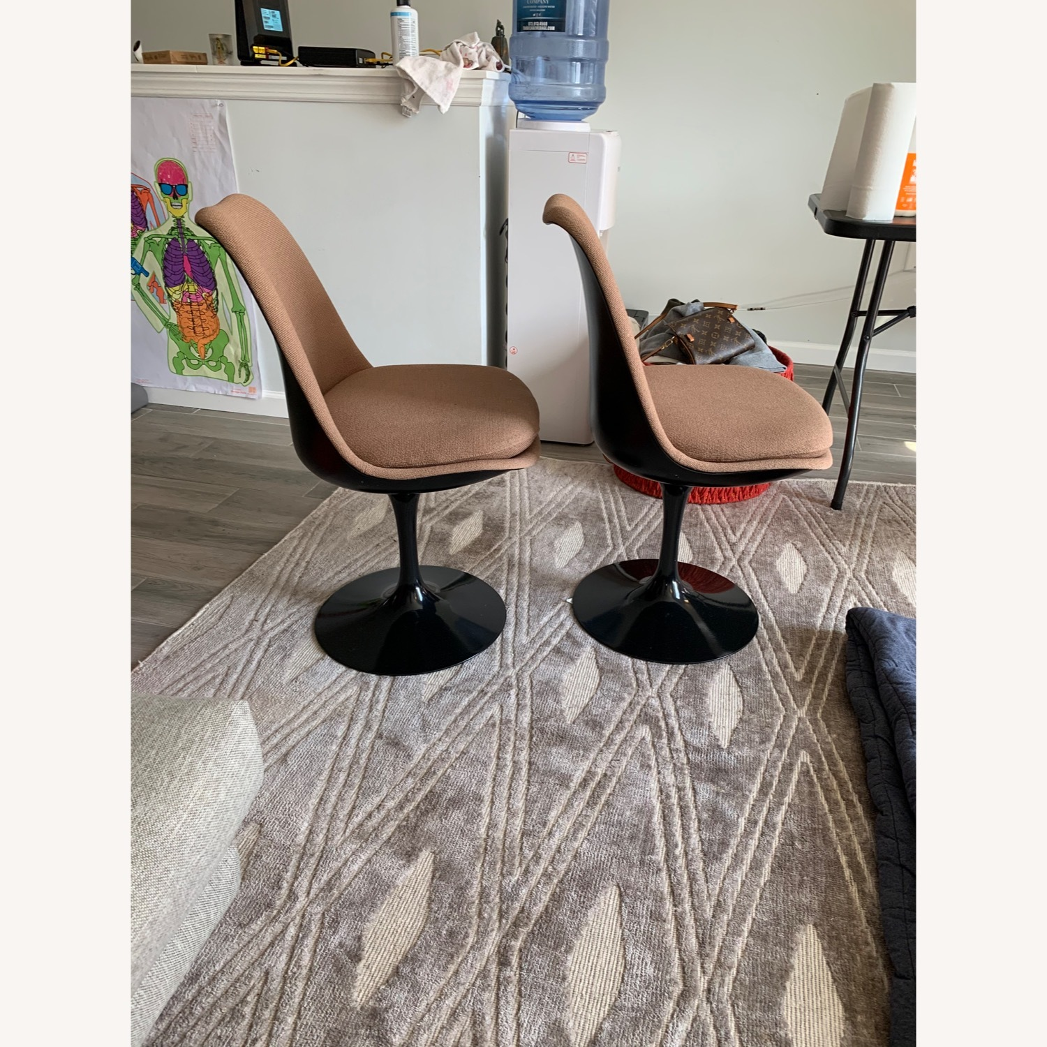 Set of 2 Knoll Tulip Chairs Armless Upholstered - image-1