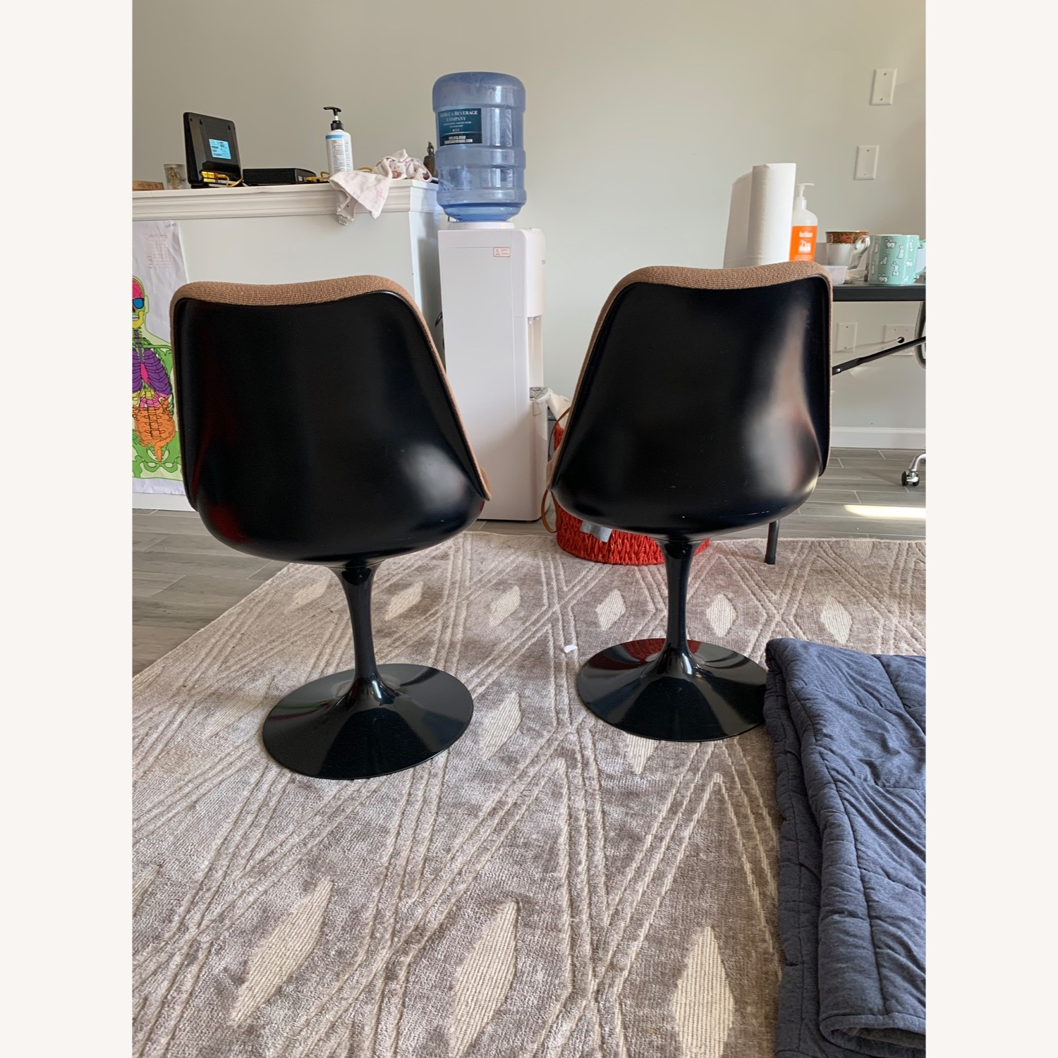Set of 2 Knoll Tulip Chairs Armless Upholstered - image-3