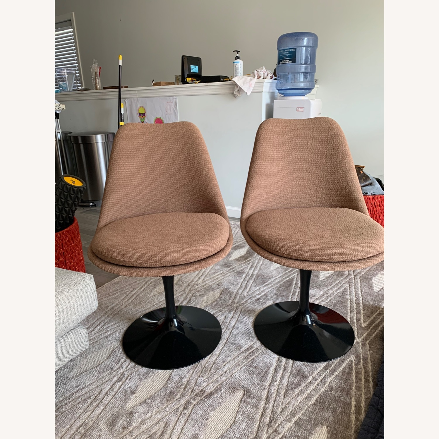 Set of 2 Knoll Tulip Chairs Armless Upholstered - image-4