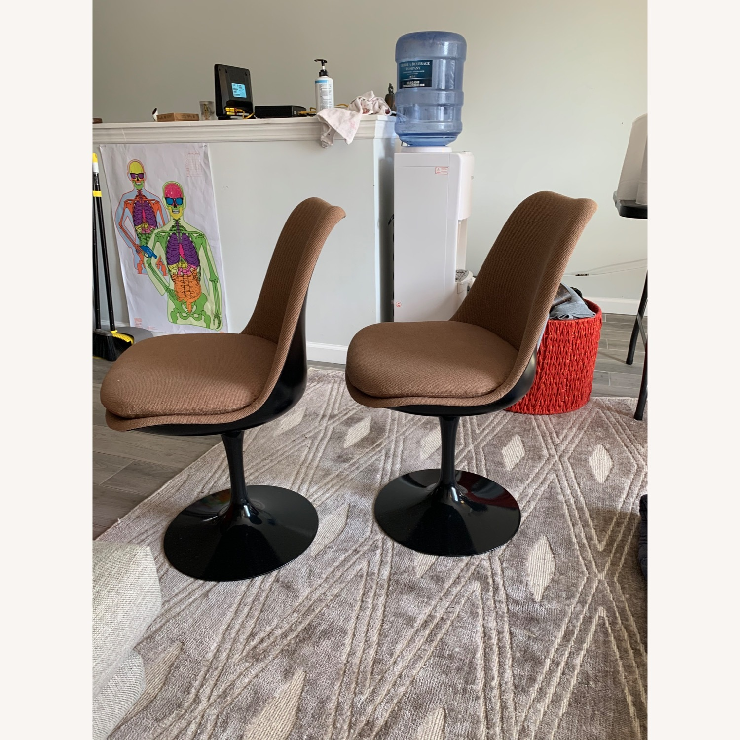 Set of 2 Knoll Tulip Chairs Armless Upholstered - image-2