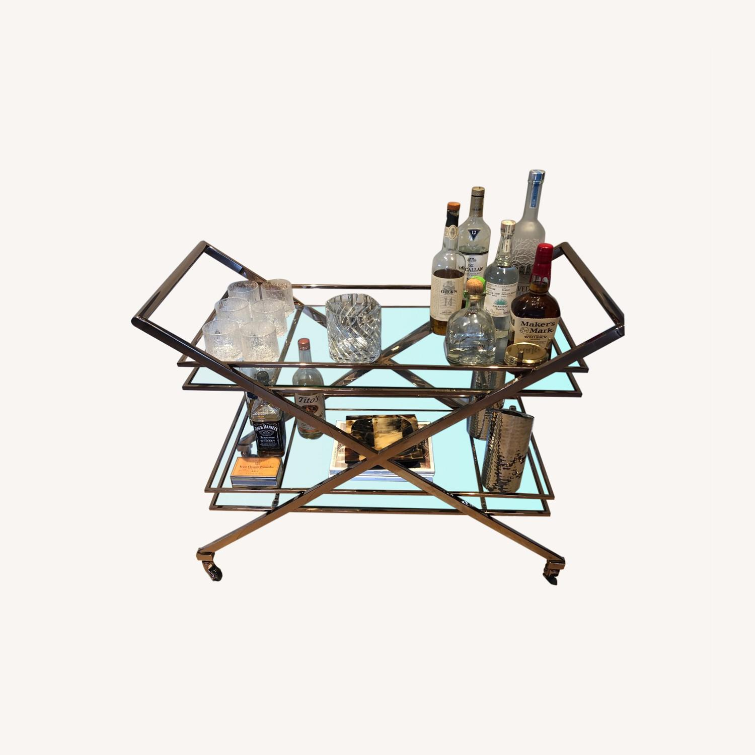 Brass Bar Cart with Glass Shelving - image-0