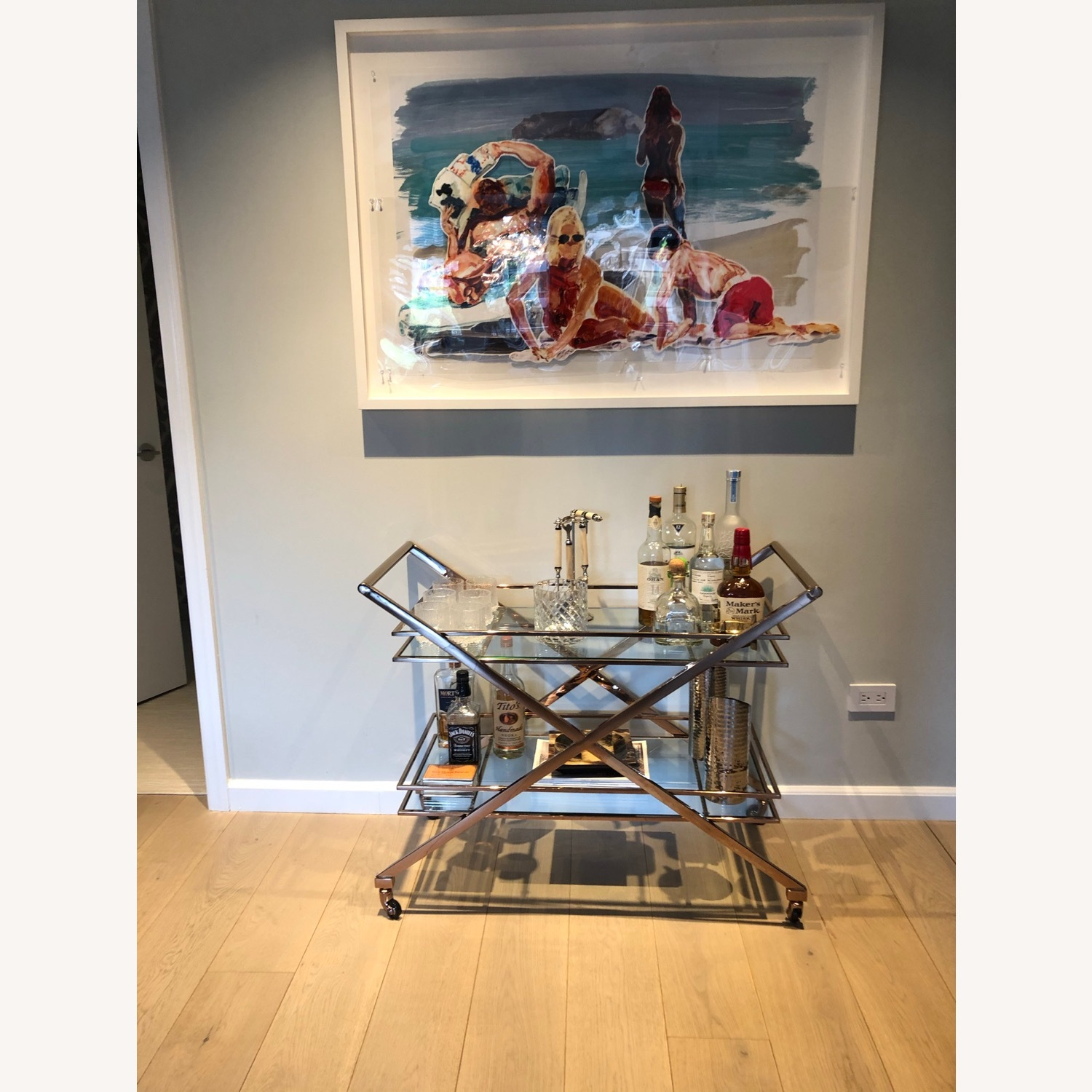 Brass Bar Cart with Glass Shelving - image-2