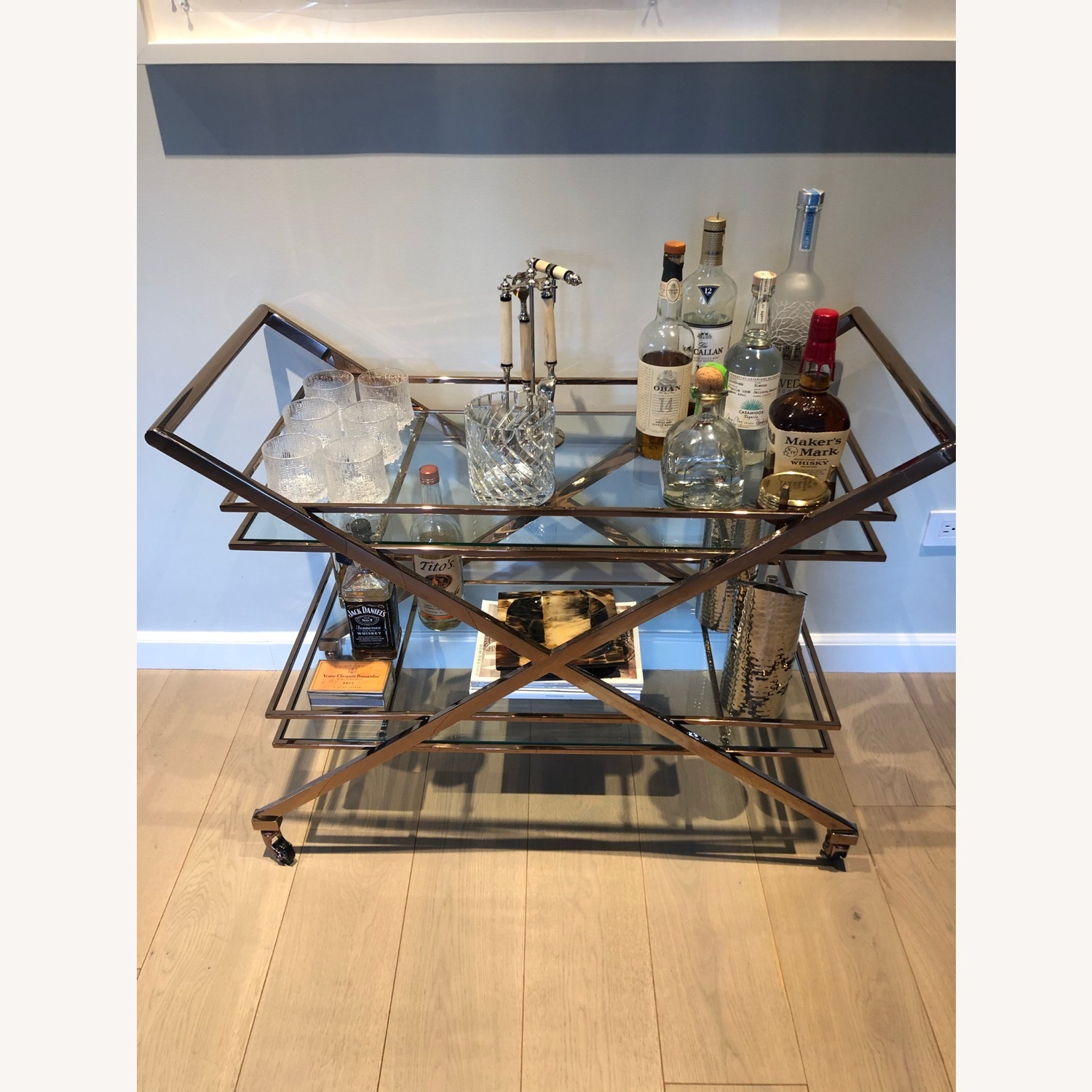 Brass Bar Cart with Glass Shelving - image-1