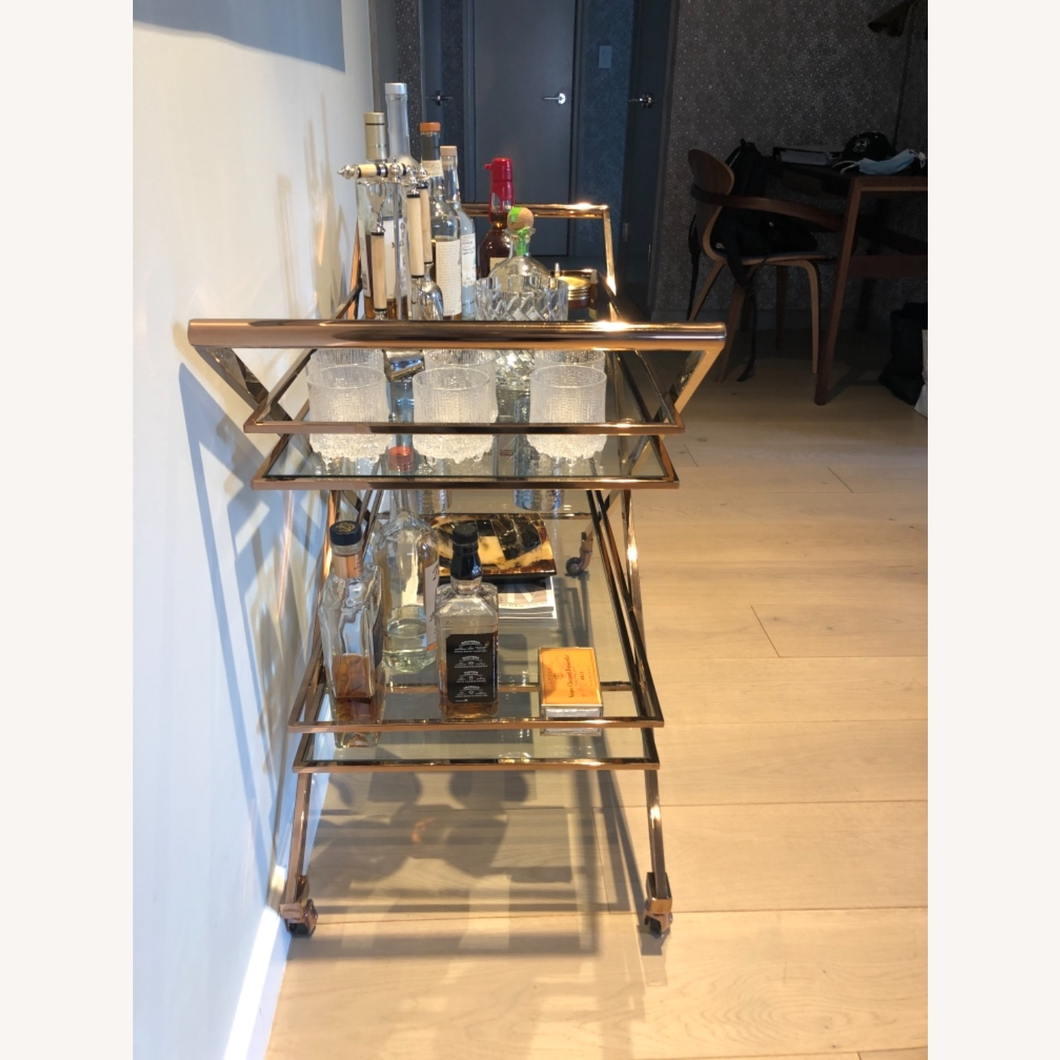 Brass Bar Cart with Glass Shelving - image-3