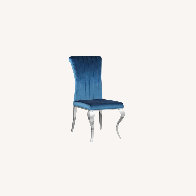 Dining Chair In Teal Plush Soft Velvet Upholstery - image-7