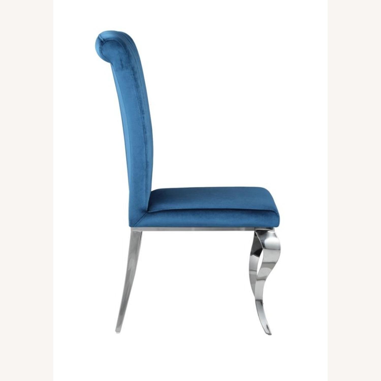 Dining Chair In Teal Plush Soft Velvet Upholstery - image-3