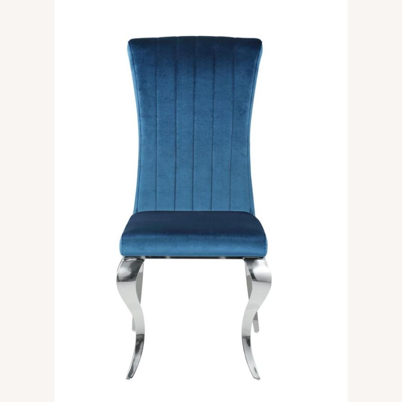 Dining Chair In Teal Plush Soft Velvet Upholstery - image-1