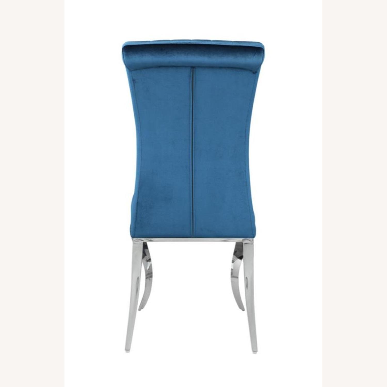 Dining Chair In Teal Plush Soft Velvet Upholstery - image-2