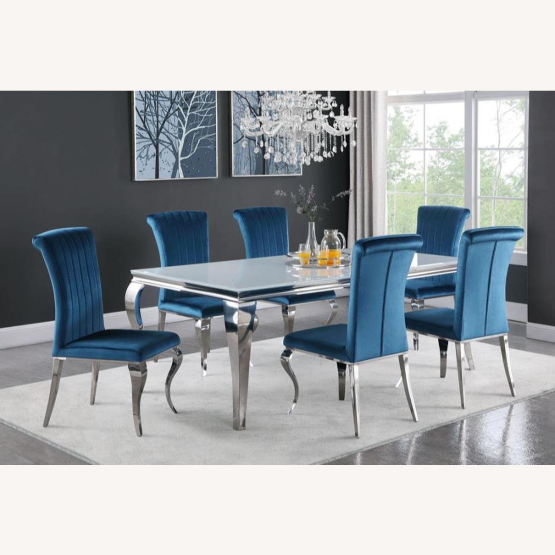 Dining Chair In Teal Plush Soft Velvet Upholstery - image-5