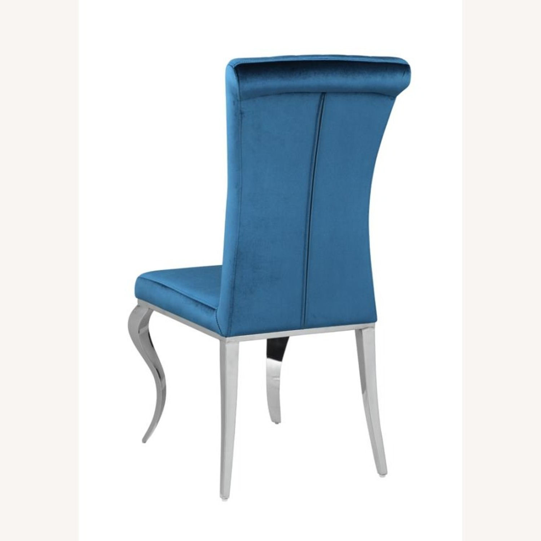 Dining Chair In Teal Plush Soft Velvet Upholstery - image-4