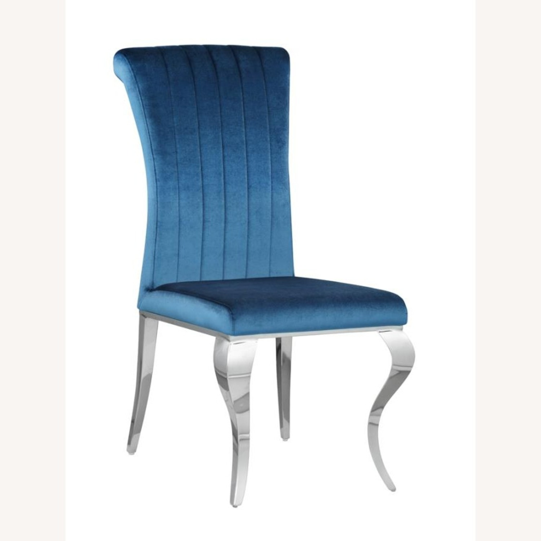 Dining Chair In Teal Plush Soft Velvet Upholstery - image-0