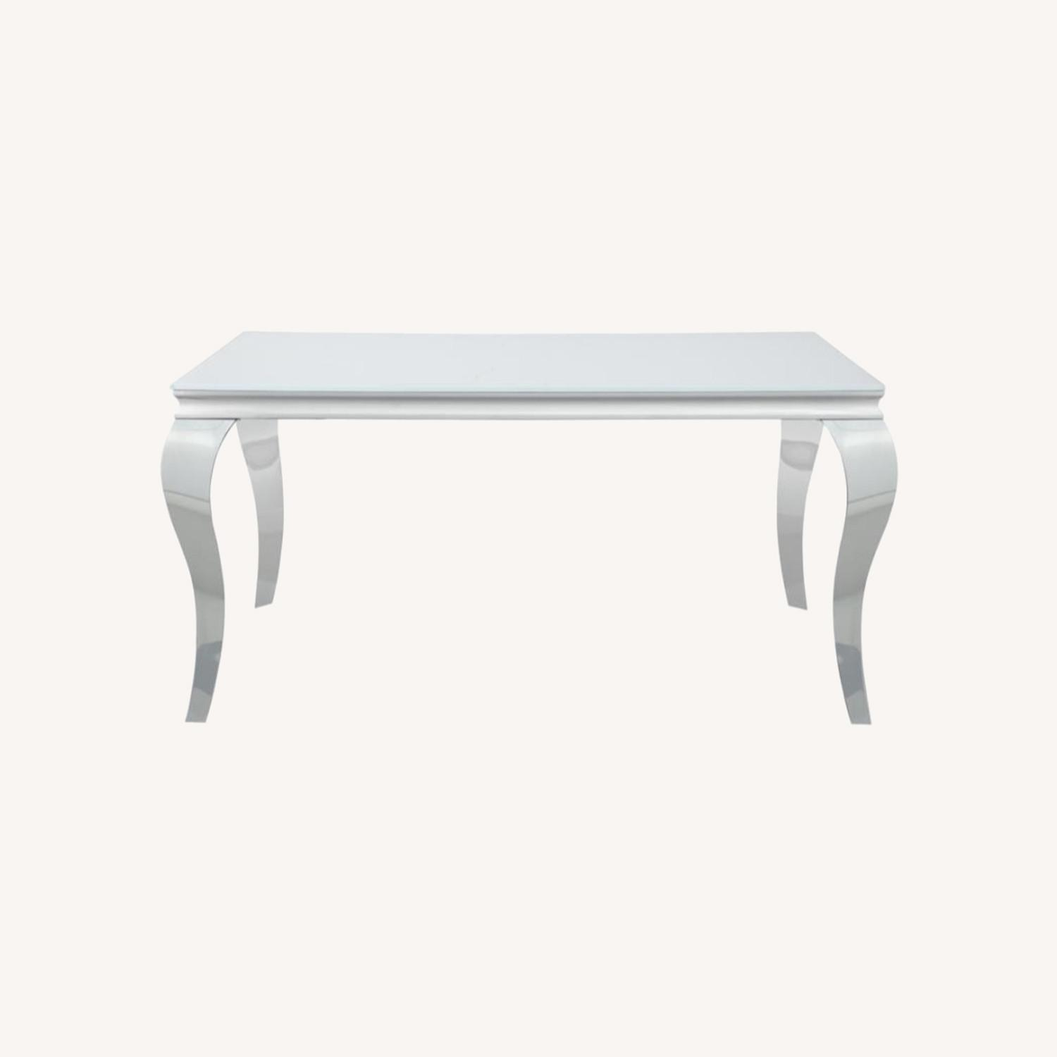 Dining Table In White Glass Top & Chrome Finish - image-5