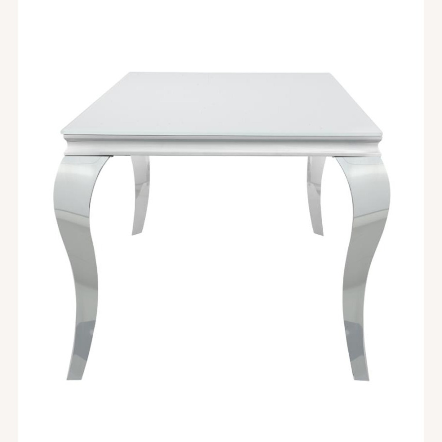 Dining Table In White Glass Top & Chrome Finish - image-2