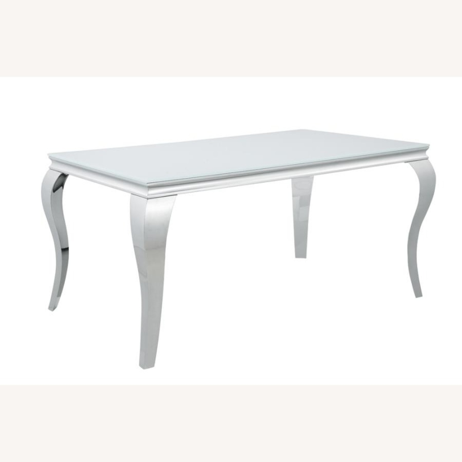 Dining Table In White Glass Top & Chrome Finish - image-0