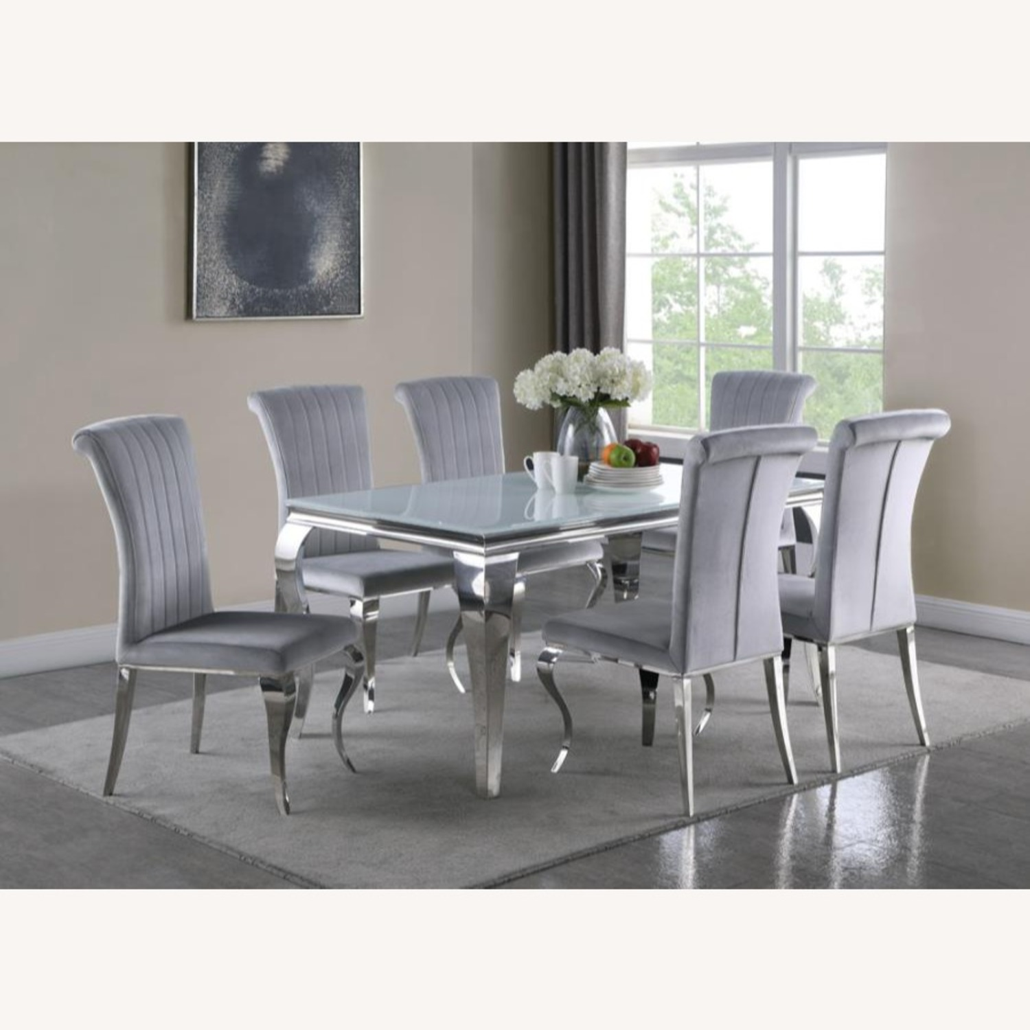 Dining Table In White Glass Top & Chrome Finish - image-3