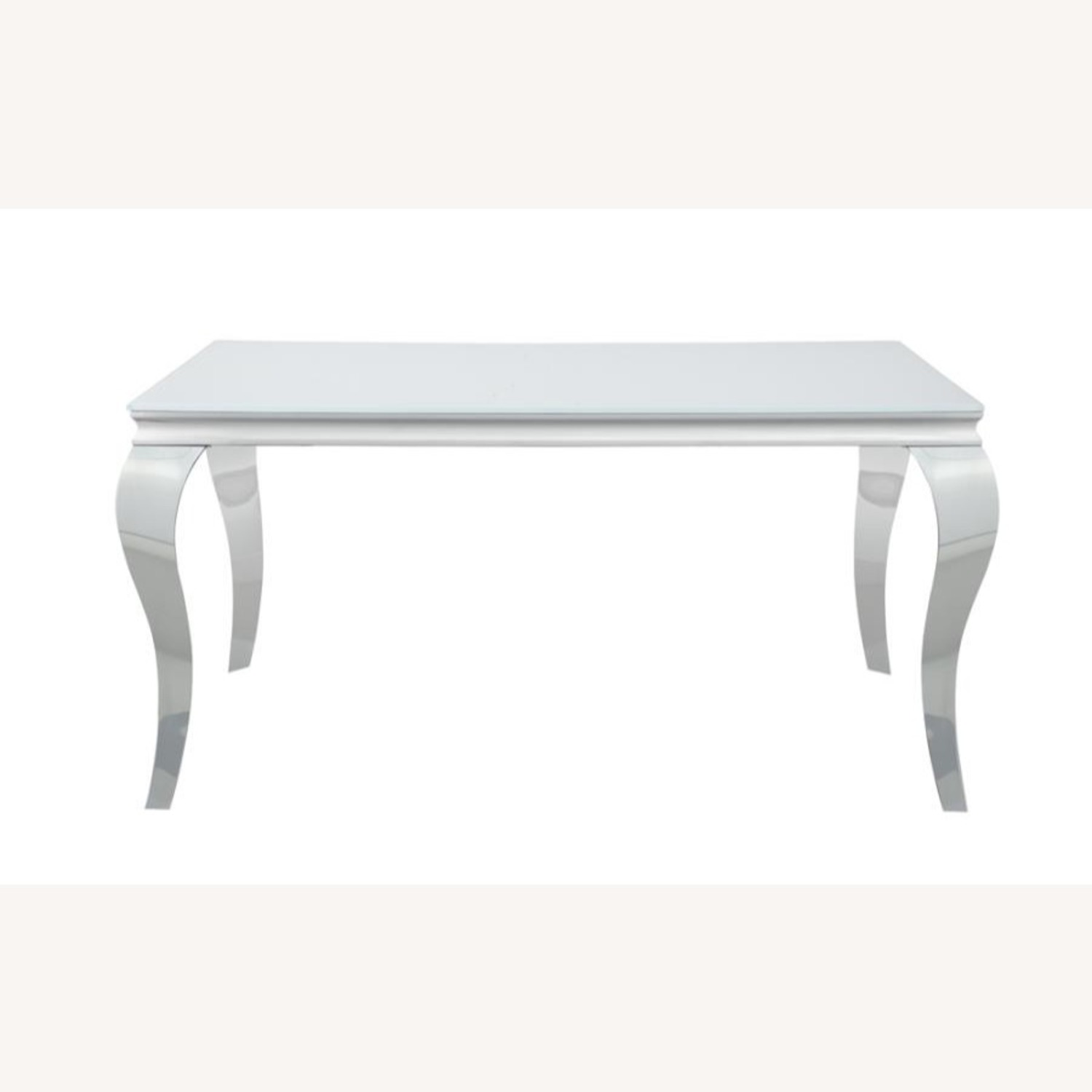 Dining Table In White Glass Top & Chrome Finish - image-1