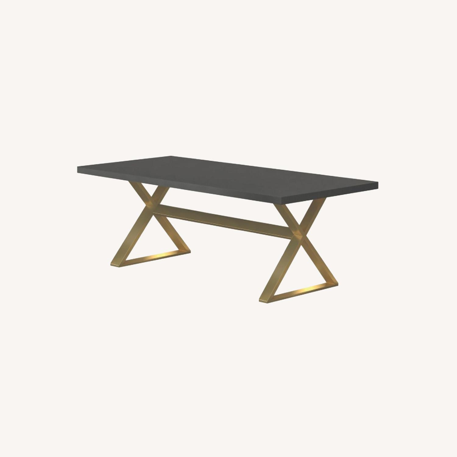 Dining Table In Dark Walnut W/ Aged Gold Base - image-4