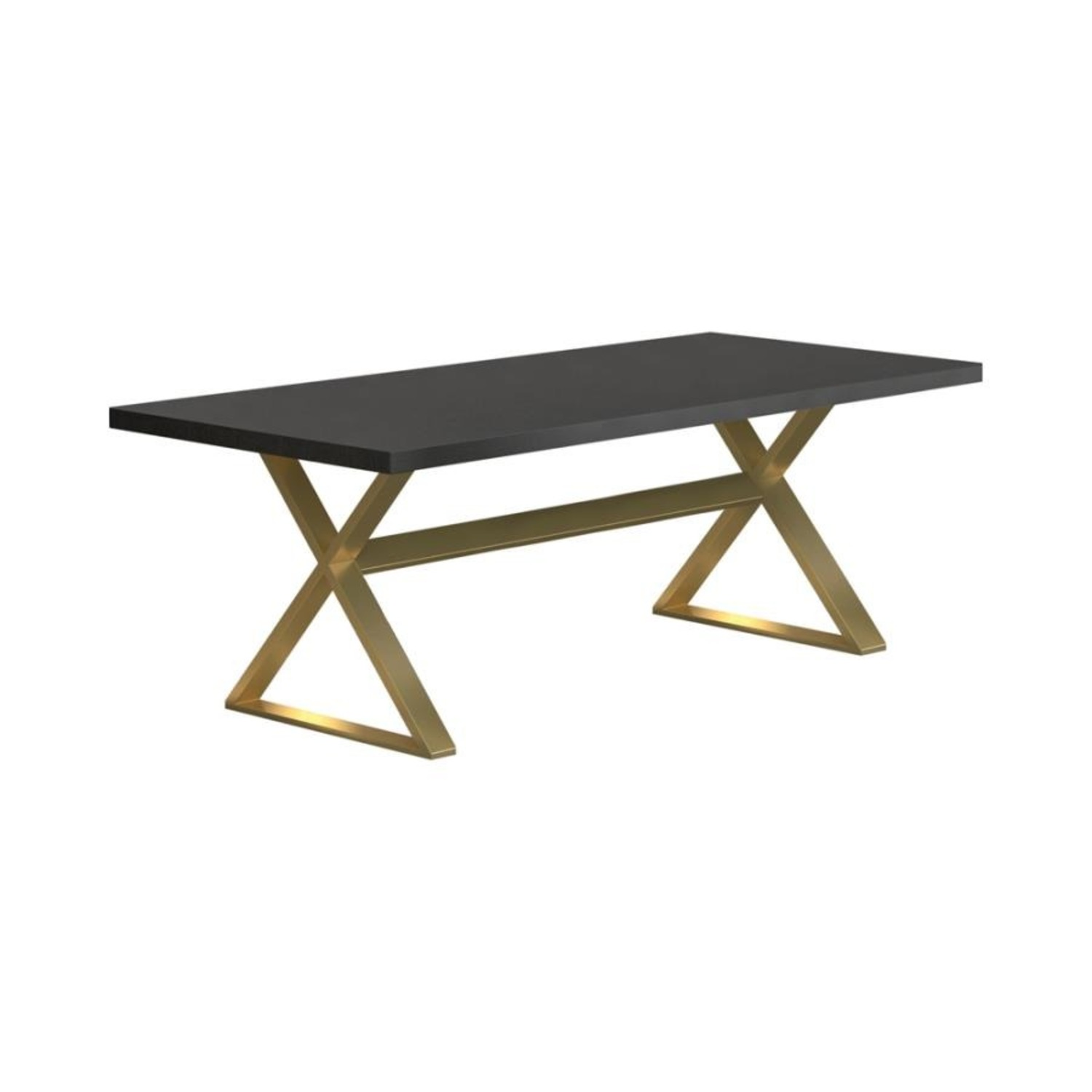Dining Table In Dark Walnut W/ Aged Gold Base - image-0