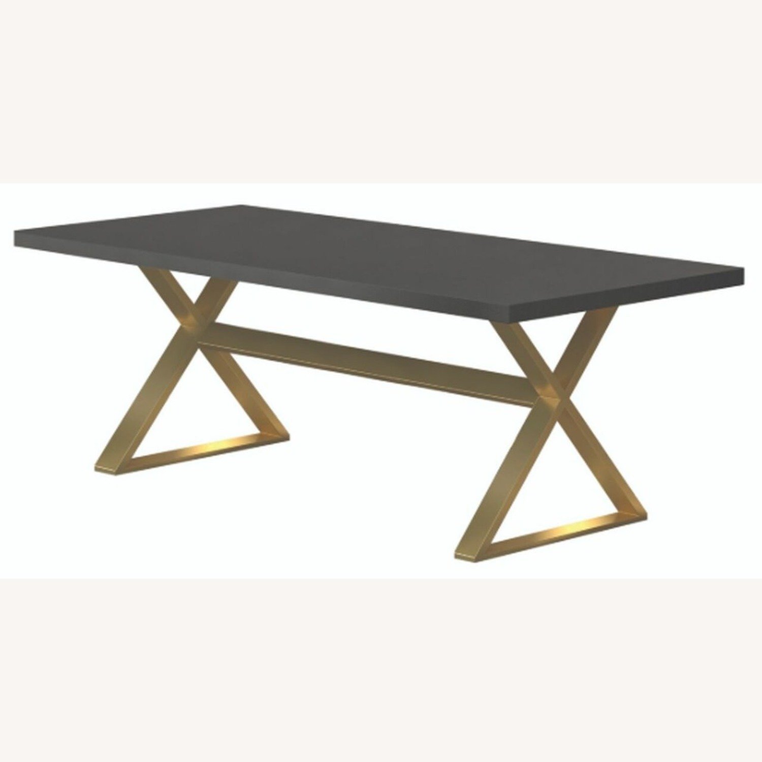Dining Table In Dark Walnut W/ Aged Gold Base - image-1