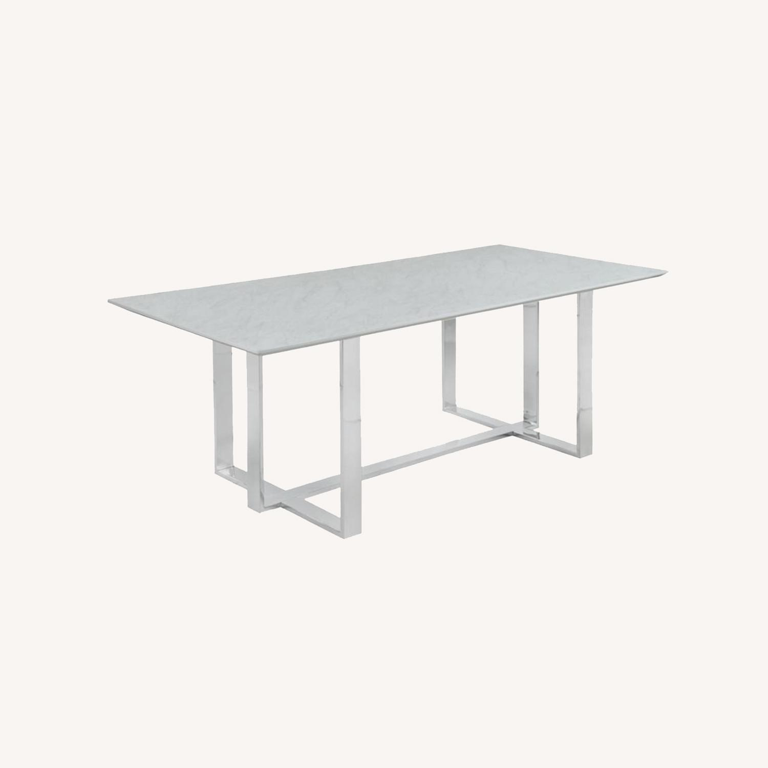 Dining Table In White Thick Tempered Glass Finish - image-7