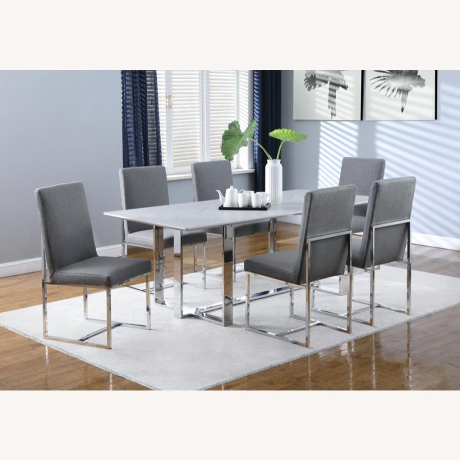 Dining Table In White Thick Tempered Glass Finish - image-5