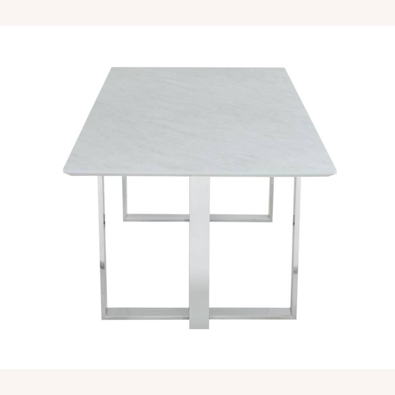 Dining Table In White Thick Tempered Glass Finish - image-2