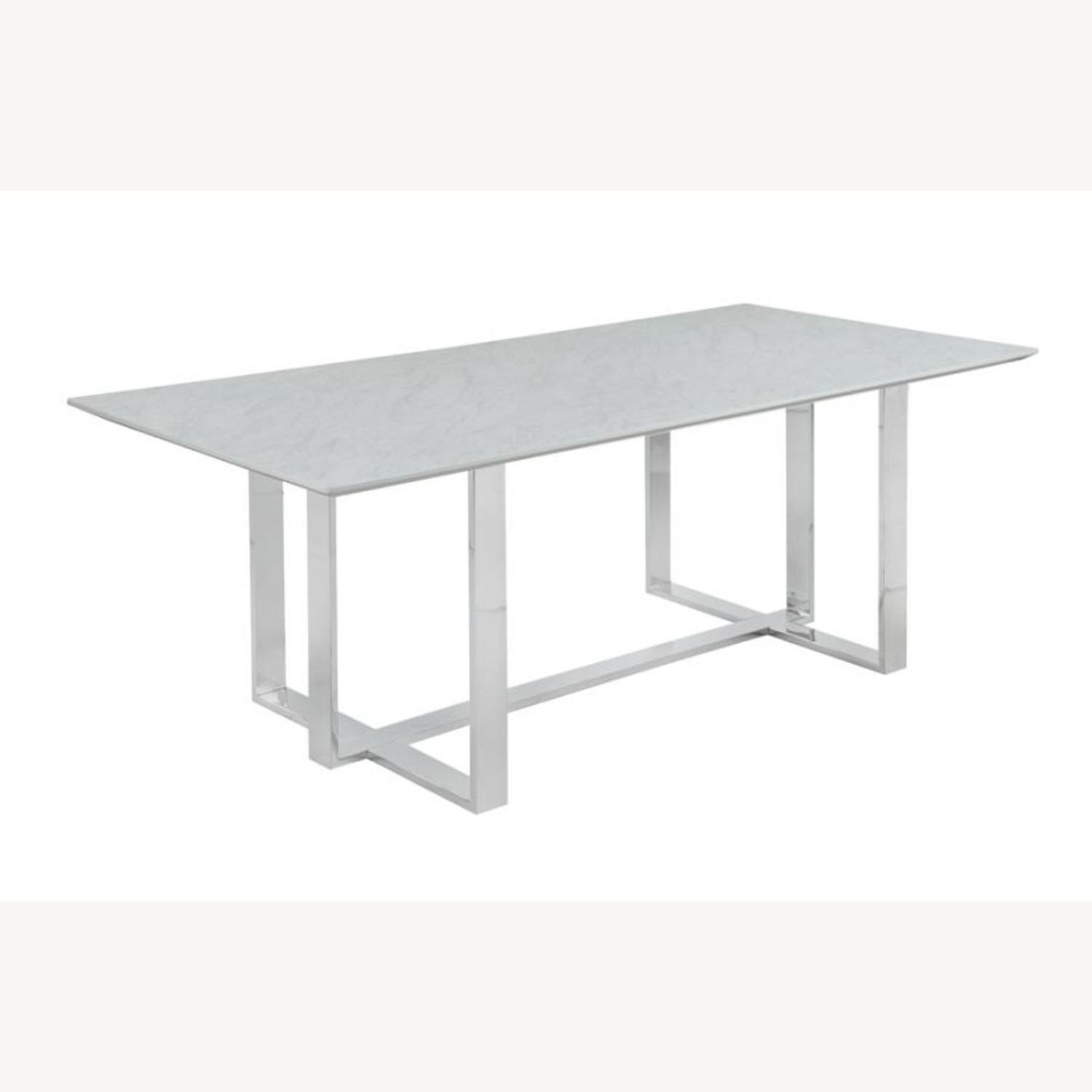 Dining Table In White Thick Tempered Glass Finish - image-0