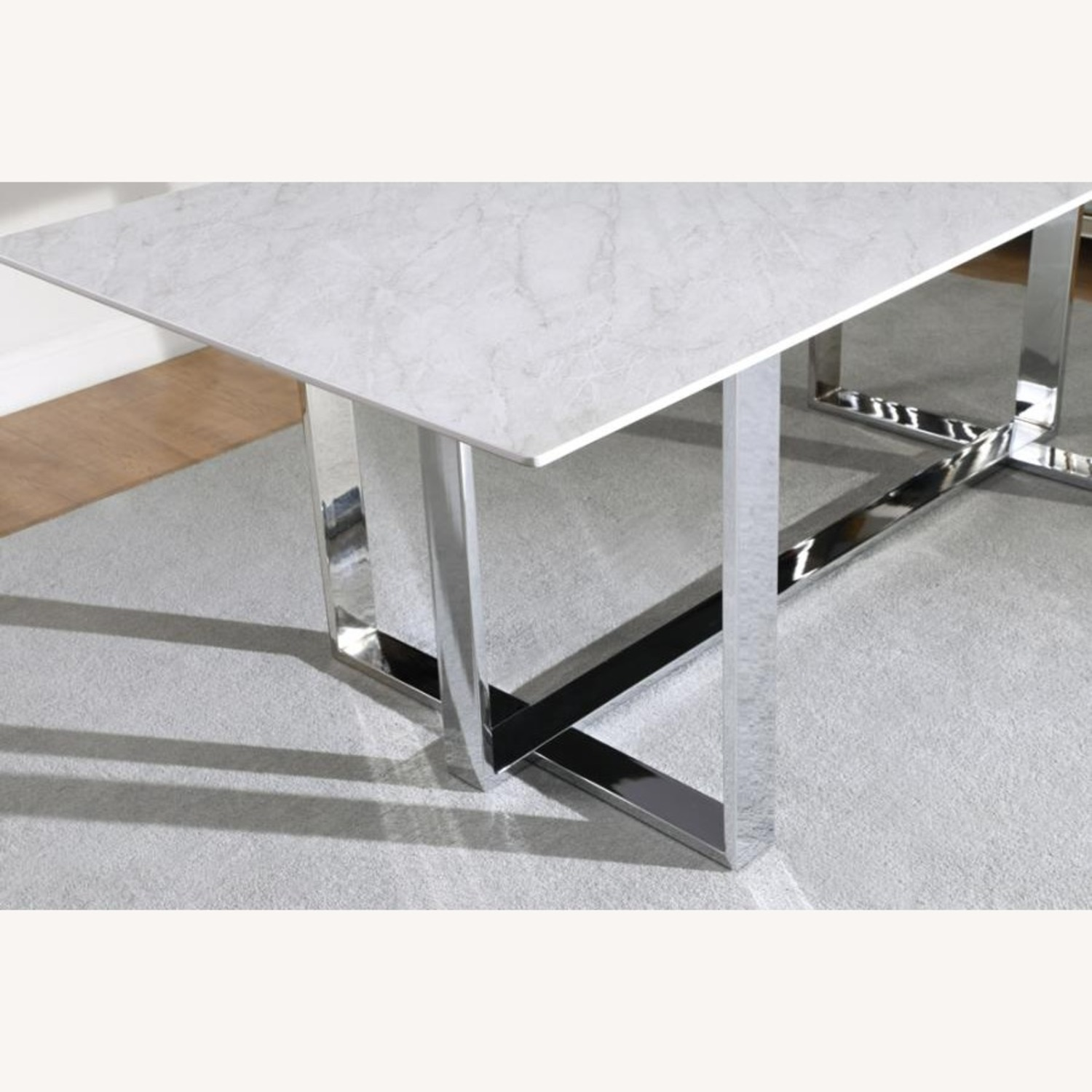 Dining Table In White Thick Tempered Glass Finish - image-4