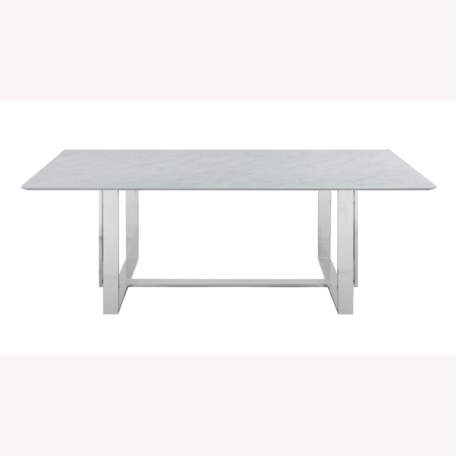 Dining Table In White Thick Tempered Glass Finish - image-1