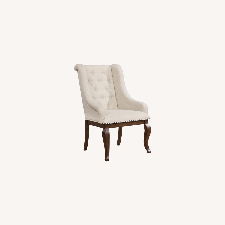 Armchair In Cream Fabric Foam Padded Cushion - image-6