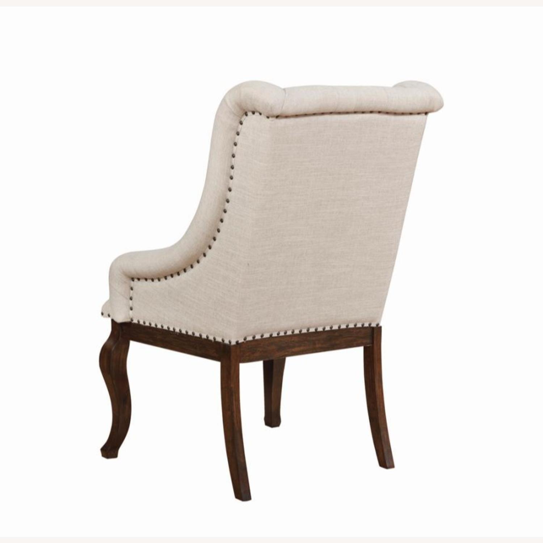 Armchair In Cream Fabric Foam Padded Cushion - image-3