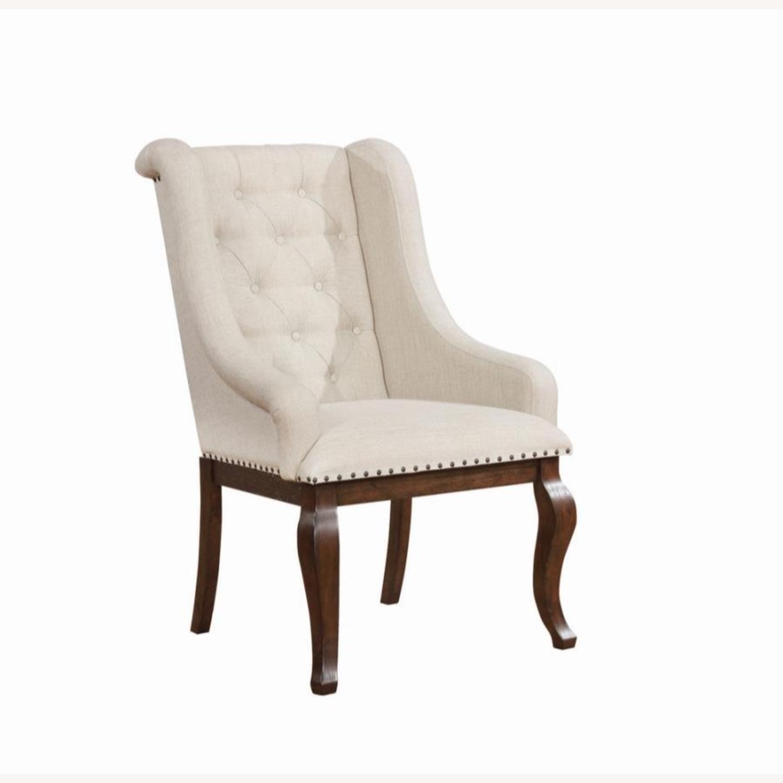Armchair In Cream Fabric Foam Padded Cushion - image-0