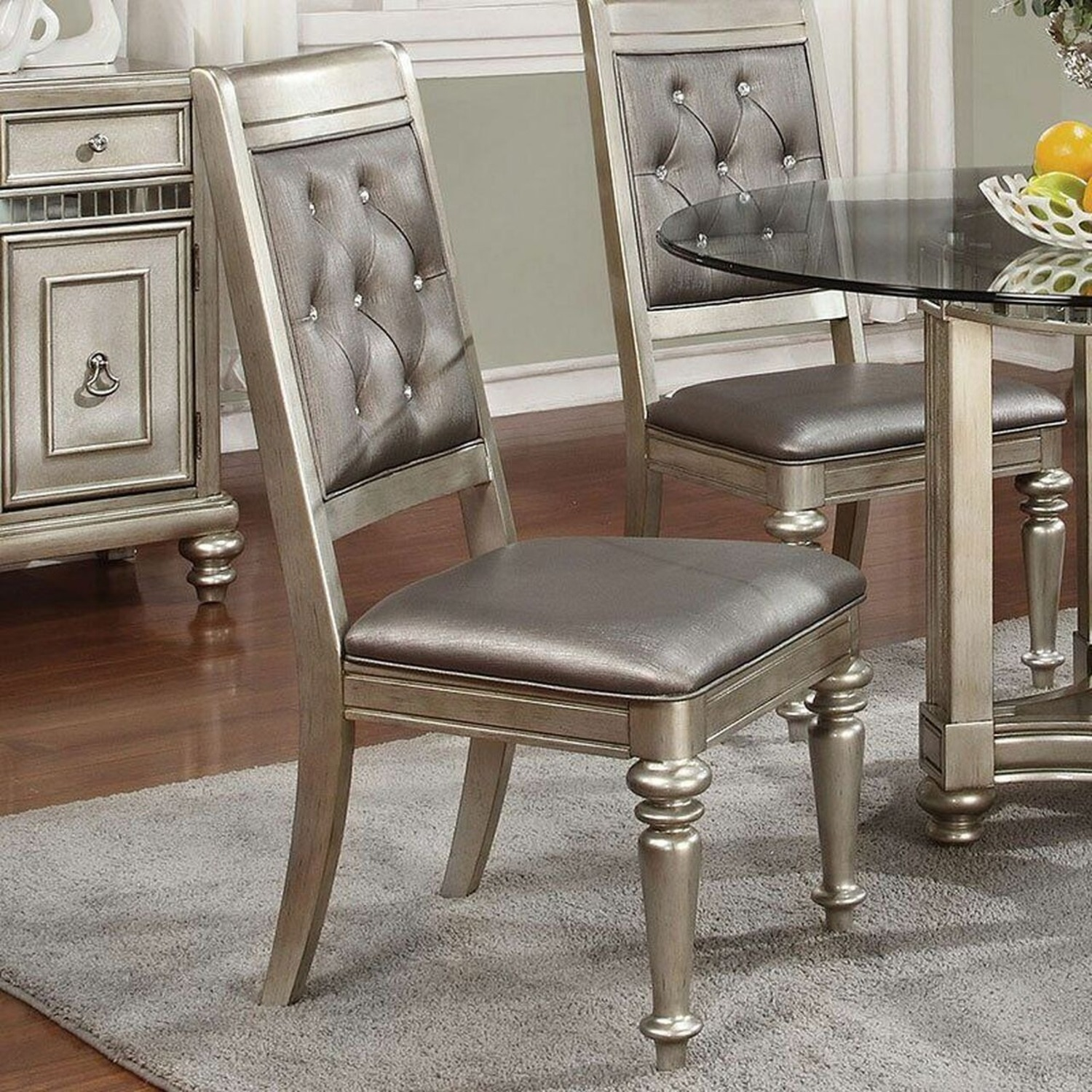 Side Chair In Platinum Metallic Color Leatherette - image-4